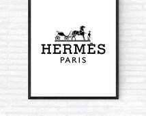 Hermes Paris Printable, Hermes Paris Logo Art, Beauty and Fashion Print, Makeup wall Art, Gift For Her, Girl's Room Poster, Hermes Poster