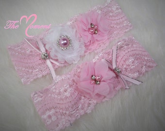 Pink Lace Garter Set, Soft Pink Garter, Wedding Garter, Bridal Garter, Stretch Lace Garter, Customize Garter, Vintage Garter