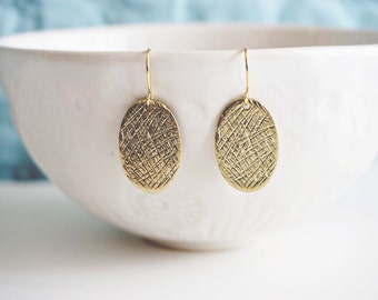 Gold Textured Pendant Earrings