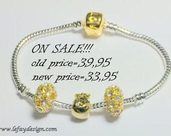 European Style, Bead Bracelet,3 module beads,Bead bracelet, large hole bead bracelet, European Style Bracelet, European Bracelet