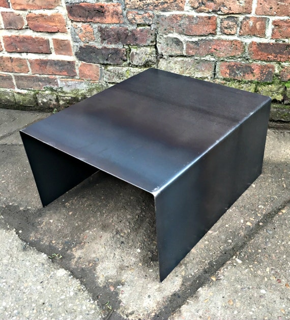 Fabricated Steel Coffee Table: Industrial Chic All Steel Cube Coffee Side Table. Metal Tv