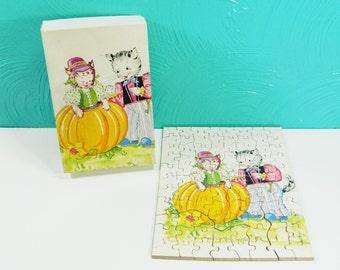 Vintage Cat Puzzle, Peter Peter Pumpkin Eater Nursery Rhyme Puzzle, Children's Puzzle