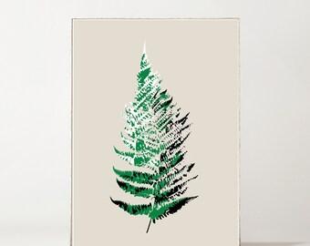 Fern Botanical Giclée Print Green + Black on Putty