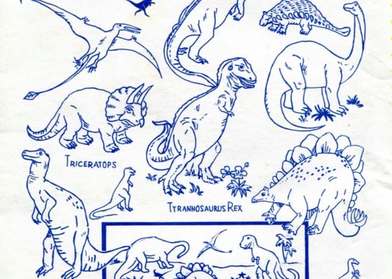 Dinosaurs hand embroidery iron on transfers