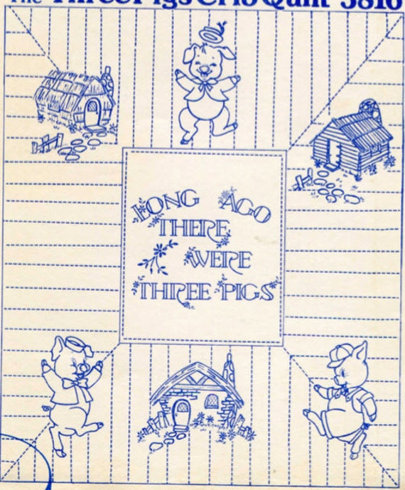 Three little pigs quilt pattern hand embroidery tracing