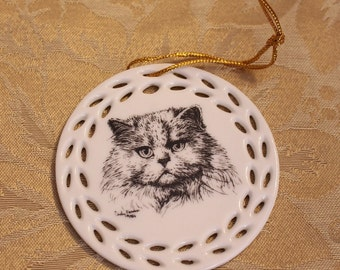 Vintage Porcelain Cat Face Christmas Ornament Grumpy Cat