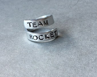 Team Rocket Pokemon Inspired Ring Hand Stamped Aluminum Ring