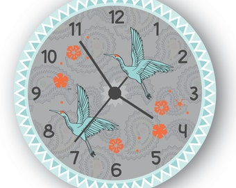 Gift Wall Art clock, Stork And Flower Decor,