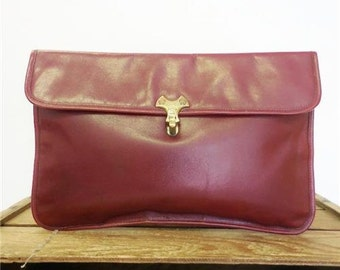 Etienne Aigner Vintage Cordovan Red Leather Oversize Clutch Bag Envelope Purse