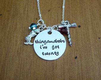 Mermaid Necklace. Thingamabobs I've Got Twenty. Wine lover necklace. With Love From OC original design. Red wine fan. Hand stamped.