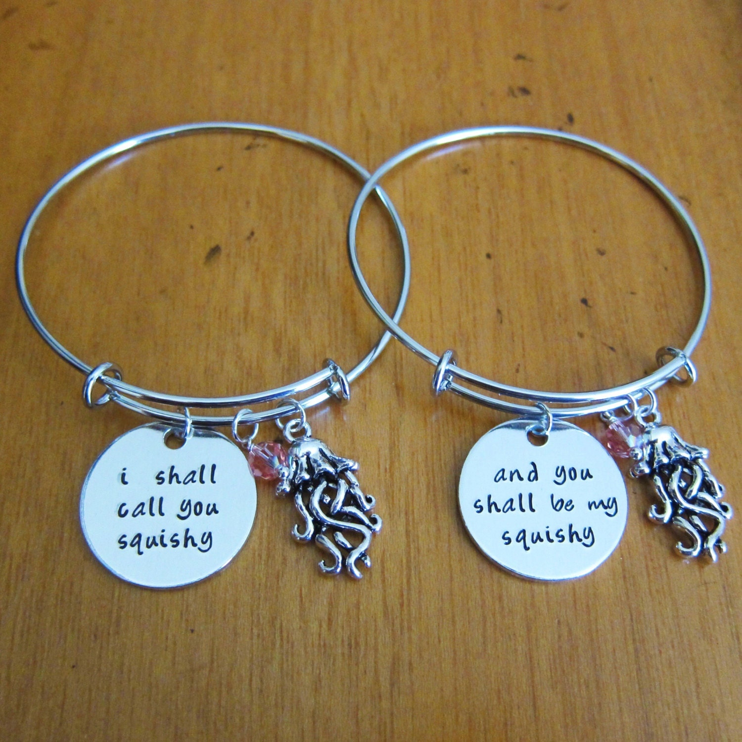 Nemo Inspired Friendship Bangle Bracelets I Shall Call You Squishy And Be My Best Friend Jewelry Bff Charm By