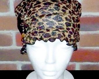 Women chemo hat,women beanies,leopard chemo cap,cancer headwear, scarf,hair loss, alopecia,adult,spring, fall,handmade