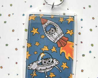 Cute Cat Keychain Rocket Cat UFO Kitty Star Keychain Space Keychain Cats In Space Retro Rocket Keychain Kawaii Keychain
