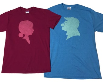 Disney Up Carl and Ellie Couples Bleached T-shirts