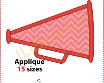 Megaphone Applique Design. Megaphone embroidery design. Cheer leading megaphone. Applique megaphone. Megaphone. Machine embroidery design