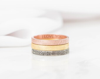 Skinny Fingerprint Ring - Personalized Fingerprint Band - Dainty Fingerprint Rings - Valentines Gift - Christmas Gift