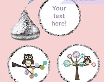 Baby Shower Hershey Kiss Stickers, Owl Hershey Kiss Stickers, Baby Owl Hershey Kiss Stickers, Personalized Hershey Kiss Stickers