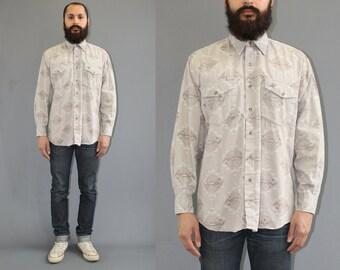Lone Roo by Roper Southwestern Aztec Print Long Sleeve Button Up Shirt - Western Shirt - Navajo Print Shirt - Large