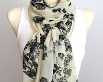 Beige Floral Scarf Chiffon Sheer Scarf Fashion Designer Scarf for Women Gift for Women Valentine's gift Valentines Day Gift for Her