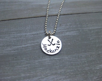 Field Hockey Necklace Sterling Silver Hand Stamped Name Personalized Jewelry Field Hockey Team Gift Field Hockey Jewelry Field Hockey Gift