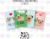 Pug Valentine Card Kids P...