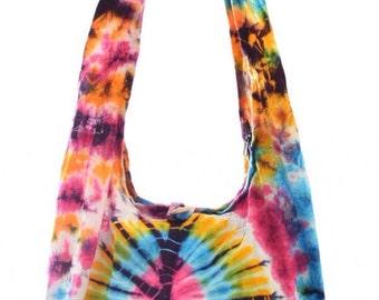 100% Cotton Tie Dye shoulder bag. Messenger,Hippie, Gypsy Sling,Hippy, Hobo, Crossbody, Monk, Alms, Beach.