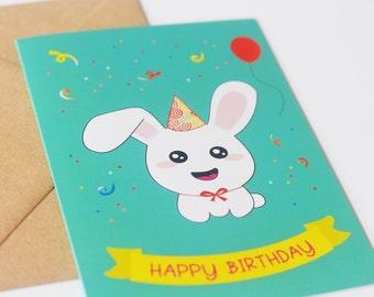 Birthday greeting card kawaii bunny child confetti celebration Happy birthday Kids Children