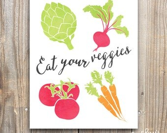Eat Your Veggies Wall Art, Kitchen Decor, Vegetable Print, 5x7, 8x10