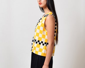 1960s Yellow Checkered Taxi Top 60s Vintage Check Boxy Top Mod S M