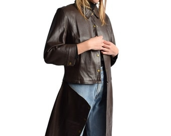Convertible Brown Leather Trench Coat 2 in 1 Jacket Cropped Motorcycle Jacket Mod Minimalist XS S M
