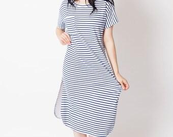 Nautical dress, blue & white dress, Beach dress ,stripe dress, long T shirt dress, striped dress, loose dress, casual dress