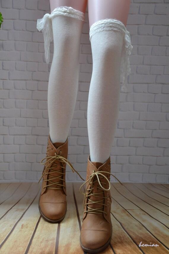 white knee high boot sockswomen lace boot socks thigh high