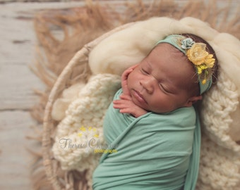 Yellow and robin's egg blue floral newborn tieback. newborn photo prop. photo prop. newborn tie back.