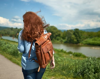 Honey brown leather backpack - Mens / Womens backpack - Leather rucksack.