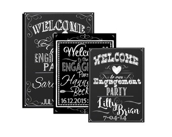 Engagement Party welcome sign, custom engagement decoration, welcome sign for engagement parties, engagement ideas, chalk style, SGNWED06