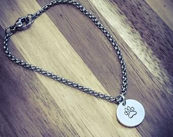 Paw Print Hand Stamped Bracelet. Cute Bracelet, Dog Bracelet, Dog Jewellery, Pet Jewelry, Paw Print Bracelet, Paw Print Jewellery
