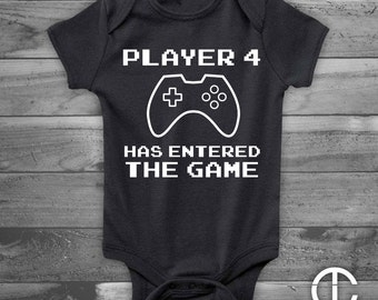 Player 4 Has Entered The Game Baby Onesie, Video Game Baby Onesie, Handmade Baby Gift, Handmade Baby Shower Gift