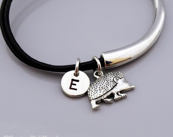 Hedgehog bangle, Hedgehog charm bracelet, Hedge hog, Porcupine charm bracelet, Leather bracelet, Leather bangle, Initial bracelet