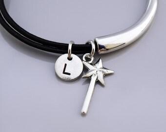 Magic wand Bangle, Magic Wand bracelet, Fairy wand charm, fairy godmother wand, Leather bracelet, Leather bangle, Personalized bracelet