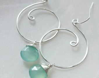 Aqua Chalcedony Teardrop Earrings, Silver Swirl Earrings, Chalcedony Gemstone Jewelry