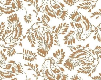 Taupe Birds & Leaves on a White Background Tissue Paper #275 ...10 large sheets