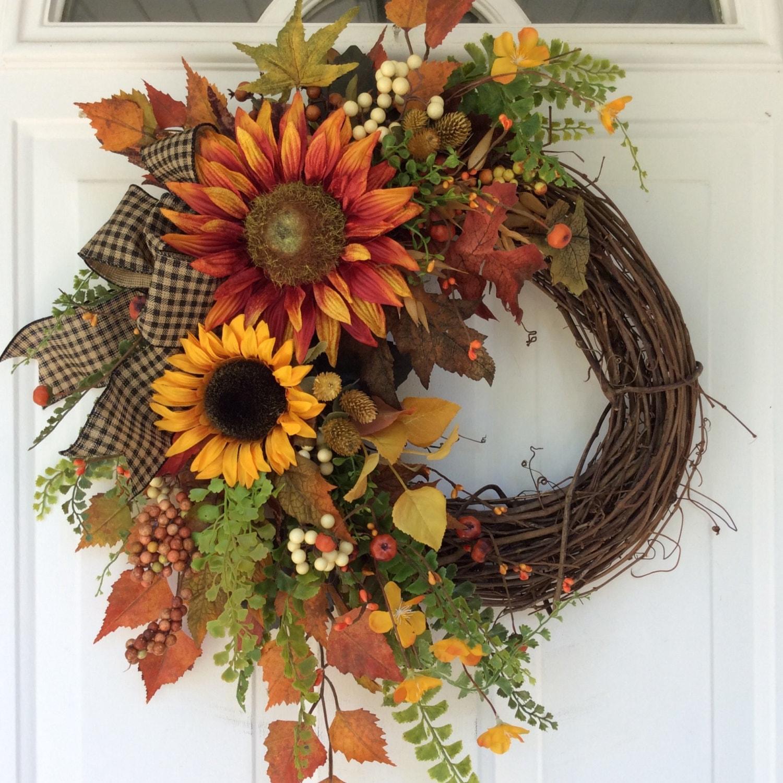 Fall Doorways: Fall Wreath For Front Door-Sunflower Wreath-Rustic Fall