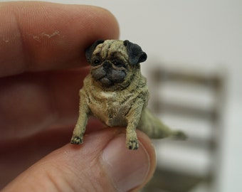 PUG, hand sculpt from polymer clay 1/12th dolls house miniature OOAK