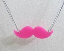 Markiplier Warfstache Pink Mustache Necklace 21in