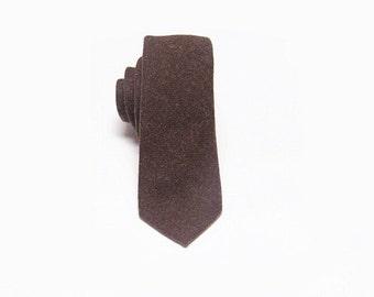 Chocolate Brown Wool Tie.Mens Wool Necktie.Chocolate Skinny Tie.