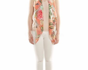 """Floral square Scarf - 100% silk in 40"""" X 40"""""""