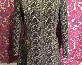 Vintage Retro Silver Crimplene Metallic Lurex 1960s Tunic Dress By Lerose UK Size 14 16