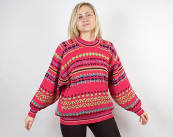 Vintage Women Sweater Pink Women Pullover Large Jumper Ornamented Sweater
