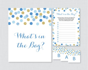 Blue Baby Shower Bags Game Printable   Guess Whatu0027s In The Bag Game   Blue  And