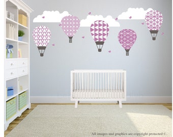 Hot Air Balloon Wall Decals, Wall Decals Nursery, Wall Decal Nursery, Nursery Wall Decal, Baby Wall Decal, REMOVABLE and REUSABLE